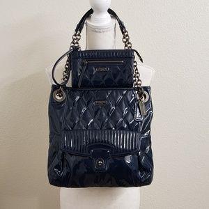 COACH - Blue Poppy Patent Leather Handbag Set